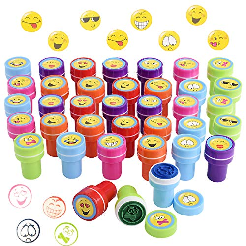 Gudotra 36pz Timbri Emoji Bambini attività Creative Gadget Regalini per Compleanno Natale (Emoji)