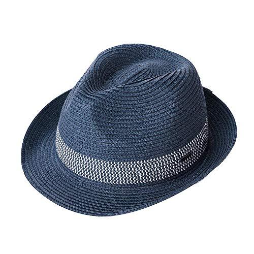 FHHYY Strohhut Sommer Damen Herren Fedoras Stroh Hüte Kurze Krempe Einstellbare Packable Weiche Casual Trilby Panama Stroh Sonne Hüte,L L 60cm