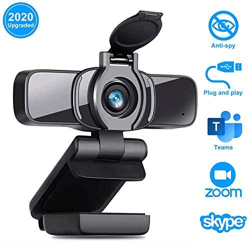 LarmTek HD Webcam 1080p mit Datenschutz Verschluss,Webcam PC-Laptop-Kamera mit Mikrofon,Widescreen-Videoanruf-und Aufnahmeunterstützung für Konferenzen