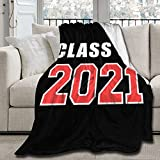 Angaja Class of 2021 Graduation Senior Blanket,Soft Fleece Blanket for Couch Bed Sofa All Season Warm Microplush Lightweight,Cozy Luxurious Air Conditioning Blanket (Class of 2021, for Adult 80x60in)