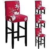 TFlower - Set di 4 fodere per sgabello da bar con schienale estensibile, per sala da pranzo, protezione per sgabello da bar #5