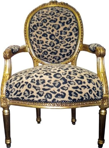 Casa Padrino Barock Salon Stuhl Leopard Muster2 / Gold Mod2
