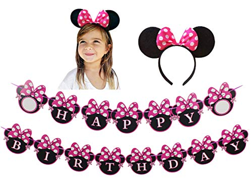 Red Minnie mouse Happy Birthday Banner and pink mickey mouse headband Red Bow Polka Dot Mini Mouse for Kids Party Decorations Supplies and Baby Shower Decor for Girls