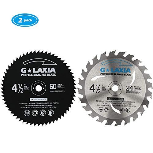 G LAXIA Hoja de Sierra Circular, 24tTCT*1, 60tHSS*1, Cortar Diferentes Materiales 115mm*10mm(pack de 2)