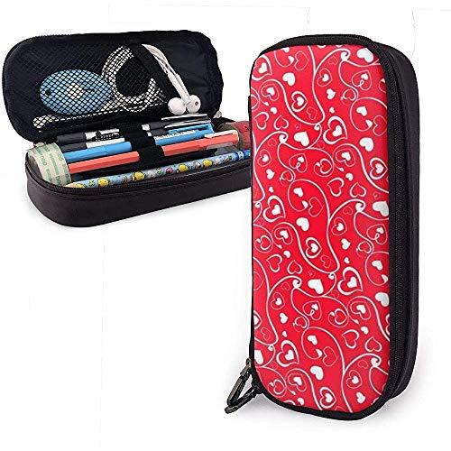 Estuche de lápices de cuero rojo con textura de corazón cariñoso, bolso de bolígrafo de gran capacidad, cremallera duradera de organizadores de papelería 4 cm x 9 cm x 20 cm