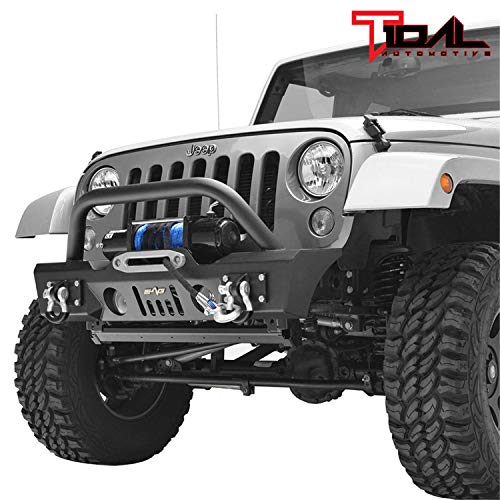 Tidal Stubby Front Bumper with Fog Light Housing and Winch Plate Fit for 07-18 Wrangler JK