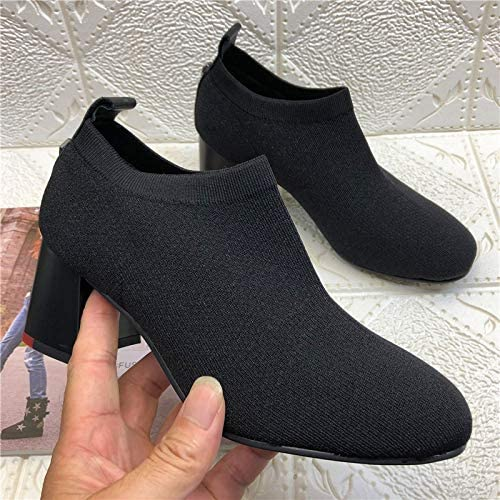 HOESCZS Bottes Femmes Wohommes Wohommes chaussures Autumn and Winter Stretch Cloth Thick High Heel Socks chaussures Single chaussures femmes