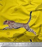 Soimoi Gelb Kunstseide Stoff dot & springen Leopard Tier