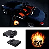 Premium Wireless Car Door Light Led Easy Installed Welcome Laser Projector Pastable Logo Light Holeless Ghost Shadow Lamp Logos Replacement For All Car Accessory 2 Pcs (FIRE SKULL)