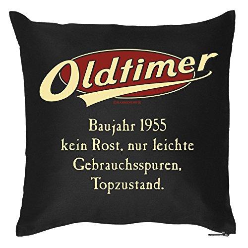 Goodman Design  Kissen mit Geburtstagsmotiv - Oldtimer - Baujahr 1955 - Kein Rost, nur leichte Gebrauchsspuren - Couch Kissen - Geschenk
