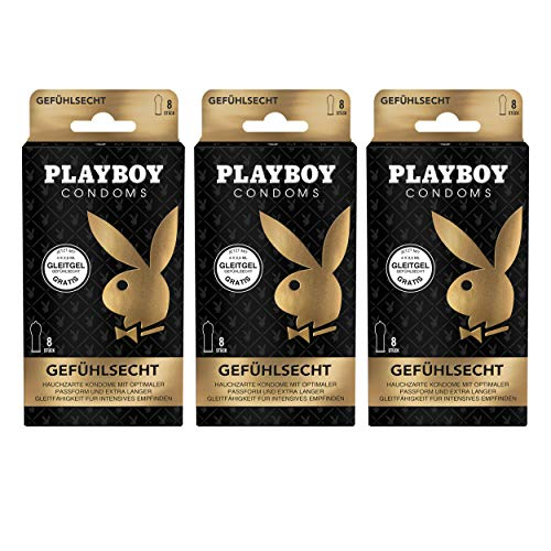 Playboy Condoms Kondome Gefühlsecht, Verhütungsmittel, Intensiv, mit Gleitgel gratis, 56 mm, 3 x 8 Stück