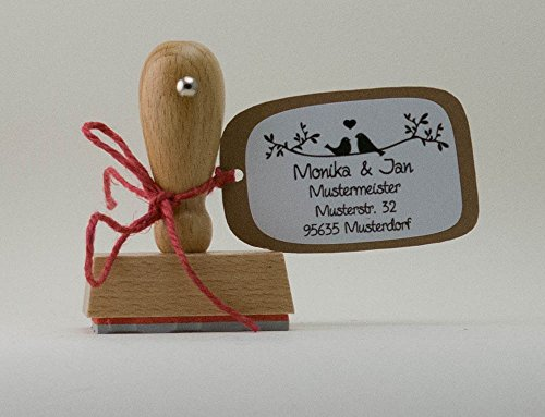 Personalisierter Stempel mit Namen & Adresse Adressstempel Vogelnest