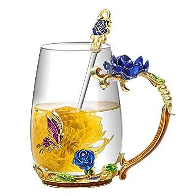 Flower Glass Tea Mug, Lead-Free Handmade Enamel Coffee Mug Butterfly and Rose Tea Cups with Spoon For Women Grandma Mom Teachers Friend Wife 12oz, Blue