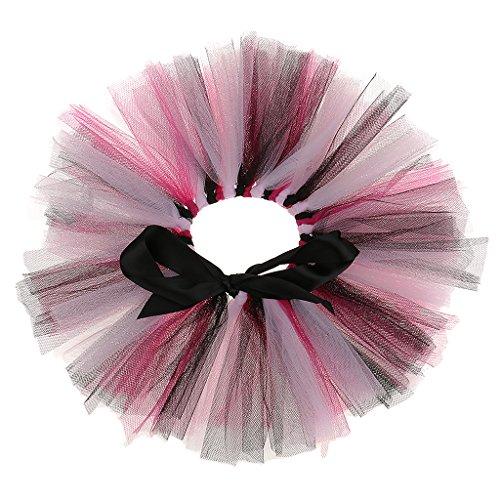 MagiDeal Flaschen Tutu Weinflasche Ballettröckchen Rock Flaschendeko für Sektflaschen Weinflasche Glasflasche - Schwarz rosa, 30 x 11cm