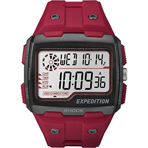 Timex Men's TW4B03900 Expedition Grid Shock Red Resin Strap Watch