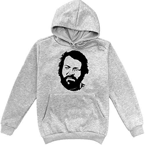 Sartamke Bud Spencer Stencil Portrait Grauer Unisex Sweatshirt Hoodie Pullover X-Large