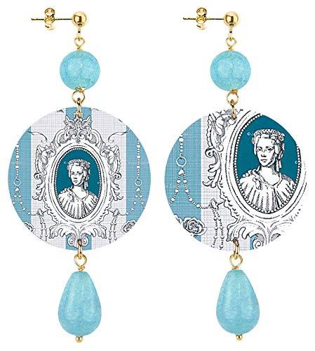 IN Lebole Colección The Circle Toile De Jouy - Pendientes de mujer de latón con piedra azul difuminada