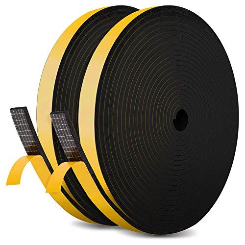 JBEIY Tira de Sellado Junta 12 mm (W) * 6 mm (H) * 10 m (L), Tiras de Sellado Autoadhesivas Prova di collisione y Aislamiento Acústico para Grietas y Espacios-Negro