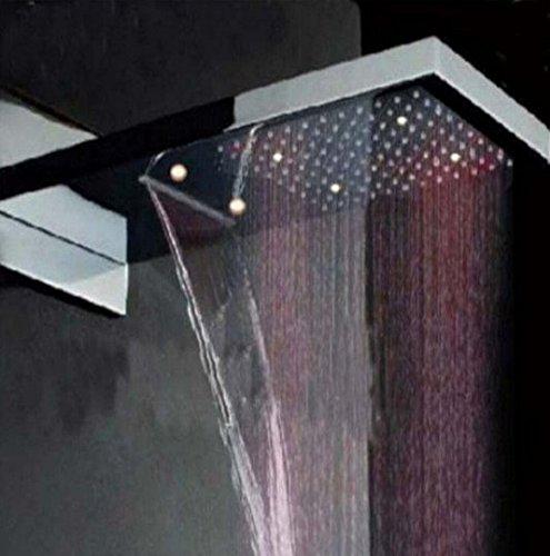 Gowe LED Farbwechsel Wasserfall Rainfall Duschkopf, quadratisch Badezimmer Dusche Head