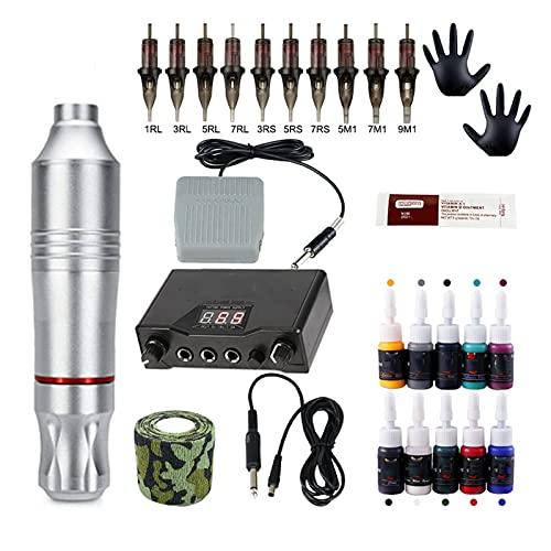 Tatuaje Kits de la máquina de Tatuaje Fuente de alimentación de Tatuaje Pluma giratoria con Cartuchos Agujas y Tinta Máquina de Maquillaje Permanente Agujas de Tatuaje (Color : Silver Tattoo Kit)