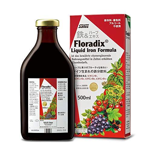 Salus Kräuterblut Floradix mit Eisen – Bei erhöhtem Eisenbedarf zur Vorbeugung von Eisenmangel – mit Eisen(II)-gluconat – freiverkäufliches Arzneimittel, 500 ml – rot