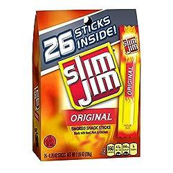Slim Jim Snack-Sized Smoked Meat Stick, Original Flavor, Keto Friendly Snack, .28 Oz.
