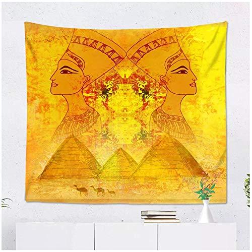 KBIASDPapel Antiguo con Tapiz de Reina egipcia Colgante de Pared Poliéster Decoración de Sala de Estar 200x150cm