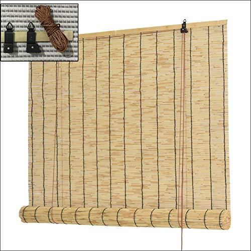 XYNH Stores en Bois - Store en Bambou, en Roseau, Pare-Soleil/Isolation Thermique, Stores pour fenêtres sans perçage, Store vénitien en Bois, Personnalisable