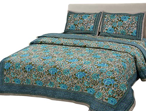 SalsaNights 100% Cotton Hand Block Print Double Bedsheet with 2 Pillow Covers