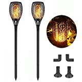 Nular tec Solar Lights Outdoor Torch Lights Flickering Flames Solar Dancing Flame Lighting 96 LED Dusk to Dawn Flickering Tiki Torches Outdoor Waterproof for Patio, Lawn & Garden (2 Pack)