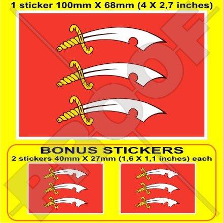 ESSEX COMTÉ Drapeau ANGLETERRE Grande Bretagne Royaume-Uni, 100mm Vinyle Autocollant, x1+2 BONUS Stickers