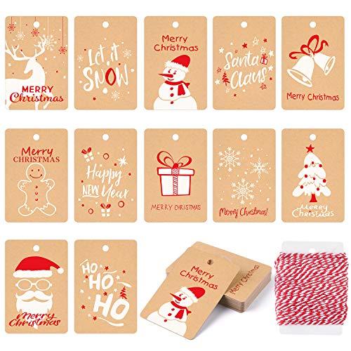 KUUQA 120Pcs Etiquetas de regalo de Navidad Festival Tarjeta de papel Kraft para etiqueta de envoltura de regalo de Navidad con cuerda colgante, 12 estilos diferentes
