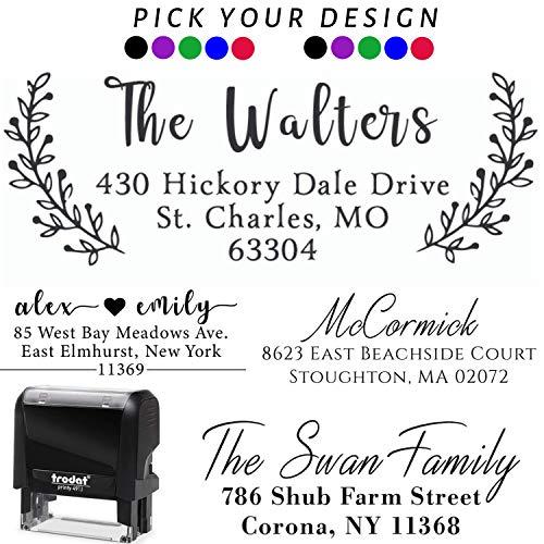 Pick Your Design! Personalized - Address Stamp - Customized Stamp - Self-Inking Return Address Mail 3 Lines Custom Address Stamper - Wedding Favor Stamp Prime Black Red Blue Purple Green Ink -