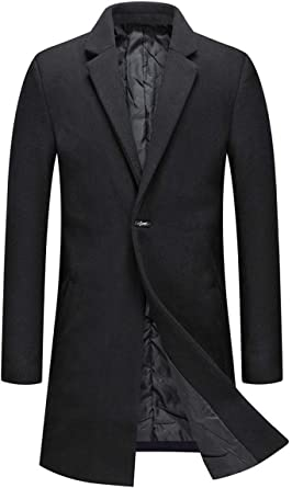 Mens Wool Coat Slim Fit Padded Winter Trench Overcoat Single Breasted Thick Long Peacoat
