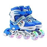 Zeroall Patín en Línea para Niños y Adolescentes Patín de Ruedas Ajustable Roller Blades con Luminoso LED Ruedas Excelentes Regalos para Muchachos Chicas(Azul)