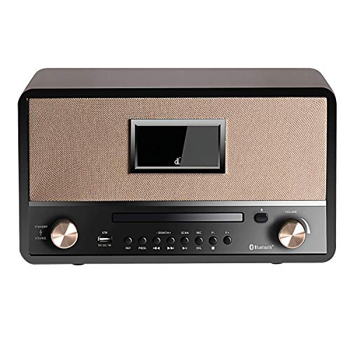 DLITIME HiFi DSP Radio Music System with CD Player, Bluetooth 29W High Power Stereo Speaker, USB, AUX-in, Remote Control