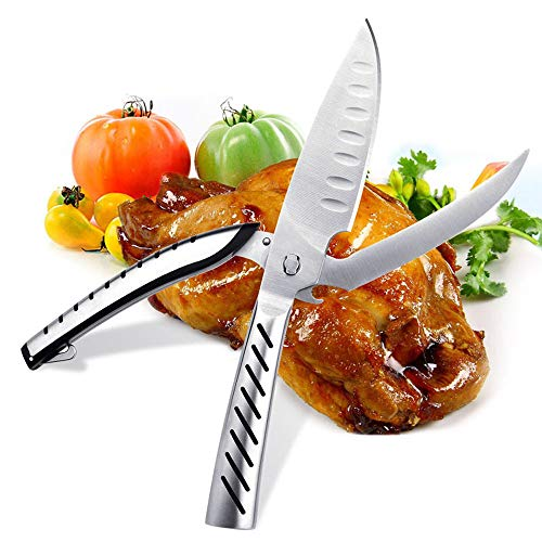 Multifunktions Küchenschere, AlfaView Auseinanderbare Geflügelschere Edelstahl Heavy Duty Schere mit scharfen Klinge für Huhn, Geflügel, Fisch, Fleisch, und BBQ 's mit Flaschenöffner