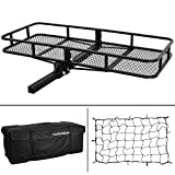 ARKSEN 60' x 24-3/4' Cargo Hauler Carrier Hitch Mounted Luggage Basket with Cargo Bag & Nylon Net Combo 2' Receiver Camping RV SUV