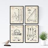 Nacnic Vintage - Pack de 4 Láminas con Patentes de Dibujo y Arquitectura. Set de Posters con inventos y Patentes Antiguas. Elije el Color Que Más te guste. Impreso en Papel de 250 Gramos