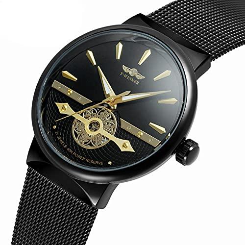 Excellent Reloj de Hombre Reloj mecánico automático Reloj de Pulsera con Correa de Acero Inoxidable 3atm 30 Metros Resistente al Agua para Negocio Casual,C04