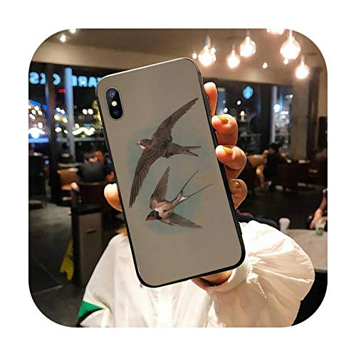 Swallows Cranes - Carcasa para iPhone 11 12 Pro Xs Max 8 7 6S Plus X 5S Se Xr-A10
