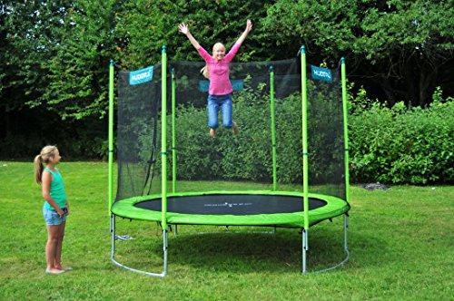 HUDORA Family Trampolin 480 cm, grün/schwarz  - Garten-Trampolin mit Sicherheitsnetz, Leiter und Randabdeckung - 65653