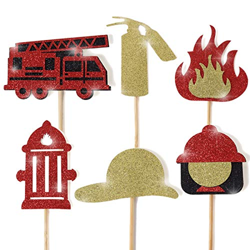 Fire Truck Birthday Banner Firefighter Baby Shower Fireman Happy Birthday Themed Party Sign Supplies Fire Engine Rescue Bday Bunting Garland Decorations (FIRE Truck Cupcake Topper)
