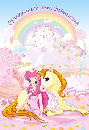 Geburtstagskarte Einhorn | Geburtstagskarte Mädchen | Glückwunschkarte zum Geburtstag | Kindergeburtstag | DIN B6 176 x 125 mm | Klappkarte inkl. Umschlag