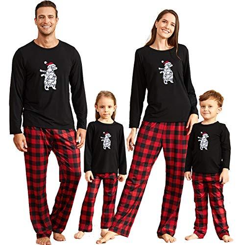IFFEI Matching Family Pajamas Sets Christmas PJ's Bear Santa Printed Sleepwear with Red Plaid Pants for Kids & Adult Men: L
