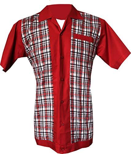 1950s/1960s Rockabilly, Bowling, Retro, Vintage Camisa para Hombre Red
