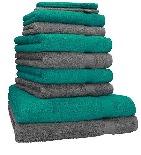 Betz Juego de toallas de 10 piezas 2 toallas de baño 4 toallas de mano 2 toallas para invitados 2 manoplas de baño 100% algodón toalla ducha baño mano PREMIUM de color gris antracita y verde esmeralda
