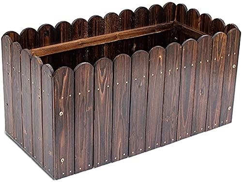 Mesa De Cultivo Huerto Urbano Kit rectangular de madera maciza Cama de jardín elevada Caja de plantación Agujero de drenaje Tornillo de metal de 12 mm Contenedor para exteriores que no se defo