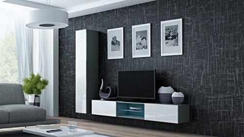 Wohnwand ' Vigo 21' Hochglanz Hängeschrank Lowboard Cube , Farbe:Grau . Weiß