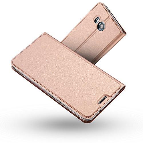 RADOO HTC U11 Lederhülle, Premium PU Leder Handyhülle Brieftasche-Stil Magnetisch Folio Flip Klapphülle Etui Brieftasche Hülle [Karte Halterung] Schutzhülle Tasche Case Cover für HTC U11 (Rose Gold)